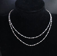 Wholesale 1PCS 16-30inches Jewelry 925 Silver Plated Column Ball Chain Necklace