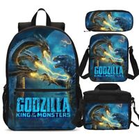 King Of Monster Godzilla Students Backpack Lunchbox Sling Bags Pen Case Kids Lot