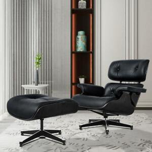 Ebony Schwarz Eams Lounge Chair Mit Ottoman Echtes Leder Lounge Sessel Liege