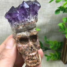 131g Free delivery of natural amethyst hand carved skull cluster healing 384