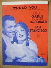 1936 Historical Greeting Cards- WOULD YOU~C Gable, J MacDonald in SAN FRANCISCO