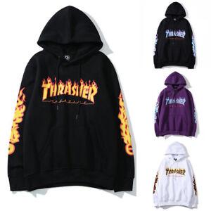Mens  Women Pullover Hoodie Thsher Flame Sweatshirt Hip-hop Skateboard Top Hoody