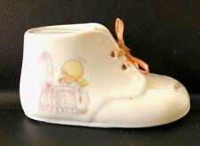 Porcelain Baby Shoe Coin Bank, Precious Moments, Enesco, Samuel J. Butcher, 1989