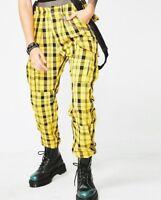 Women Yellow Plaid Overalls Pants High Waist Zipper Fly Adjustable Strap Trouser