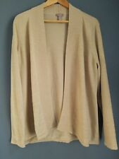 Chicos size 2 open front cardigan sweater gold metallic knit