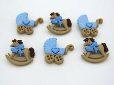 Childrens Buttons Blue Baby Boy Horse & Buggy Novelty Buttons Cake Decorations