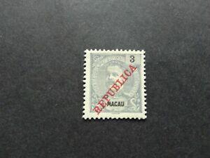 PORTUGAL MACAU MACAO 3 A. 1911 SURCHARGED REPUBLICA STAMP