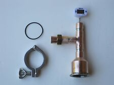 """Moonshine Still Head - Beer Keg Kit  w/ thermometer 2"""" x 3/4"""" Copper Tri Clamp"""