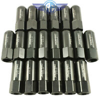 20pcs Black 60mm 14x1.5mm Extended Forged Aluminum Tuner Racing Lug Nut