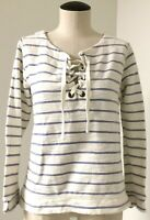 PER SE 100% COTTON BLUE & WHITE STRIPE HENLEY TUNIC W LACE UP NECKLINE SZ L