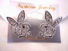 womens or mens playboy bunny crystal stud earrings silver plated