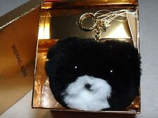 NWT Michael Kors Teddy Bear Pom Pom Fur Key Chain, Cherry / Black