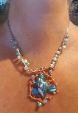 Silver Plated Shell and Coral Design Bead and Crystal  Necklace