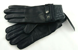 🧤NEW= HOT PAWS Men's Gloves Black/Gray = Leather/ Wool Lined XLarge