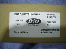 "Duro-Instruments Series 207 0-160 PSI Pressure Gauge 1/2"" NPT NIB"