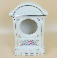 Godinger Porcelain Tower Mantel Clock Case Shell Ivory Floral Gold Trim Flower