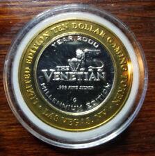2000 Venetian Silver Millennium Edition 10 Dollar Gaming Token .999 Fine
