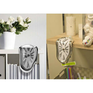 Novelty Creative Modern Melting Clock Melted Illusion Warp Clock Sits on Shelf