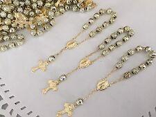 25 Pc Mini Rosary Gold Plated /Baptism Favor/ Decenario/ Recuerditos 25Pcs  Oro