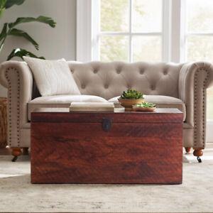 Rustic Wood Coffee Table Storage Trunk Bench w/Metal Latch, Distressed Walnut