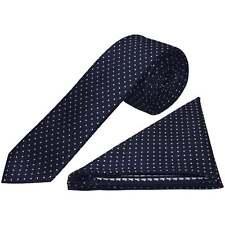 Navy Blue and White Polka Dot Skinny Mens Tie Handkerchief Set Wedding Prom Tie