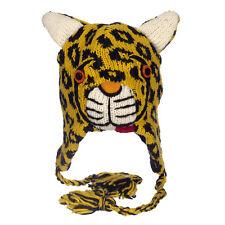 Fun Leopard fait main hiver laine animal hat. doublure en polaire, une taille, Unisexe