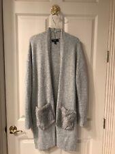 Mossimo Gray Faux Fur Embellished Pocket Long Line Cardigan Size Large