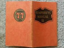 1940 HUMPHREYS' MANUAL  On the Care and Treatment of Ailments Which May be Treat