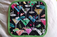 2 Handmade Pot Holders - Martini Glasses and Fruit Quilted, Multi-Color, Drinks