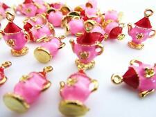 10 Little Tea Pot Pink China Enamel Charm/Gold Plated/Bracelet/Bead/Beading EK7