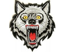 "(L18) Large WOLF HEAD 9"" x 10"" iron on back patch (2939) Biker vest"