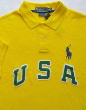 New $125 Polo Ralph Lauren Custom Fit Yellow Big Pony USA Polo / Medium