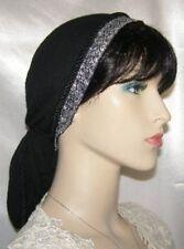 Head Covering Headcovering Black Gauze Cotton Snood Jacquard Ribbon Band Tichel