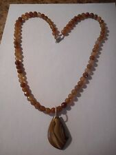 Natural Succor Creek jasper pendant on agate bead necklace