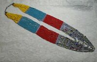 """VINTAGE MULTI STRAND MULTI COLOR GLASS SEED BEADED SOUTHWEST STYLE NECKLACE 30"""""""