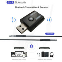 USB Bluetooth 5.0 Wireless Receiver Transmitter AUX 3.5mm Jack For TV PC Car