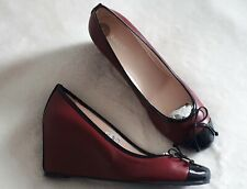 Brand New Bally (Made in Italy) Leather Wedge Shoes Size UK 6 (39) Wine Burgundy