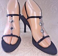 NINA Women 6.5 Black Formal Homecoming Heel Shoe Rhinestone Satin Strap Sandals