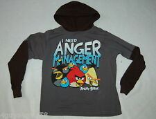 Boys L/S Tee Shirt ANGRY BIRDS I Need Anger Management HOODED Layered Look 18