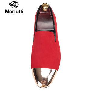 Merlutti Red Velvet With Gold Metal Toe