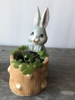 Vintage Lego Ceramic Easter Bunny Rabbit Planter Toothpick Holder Spring Decor