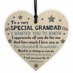 Thank You Gifts For Grandad Wood Heart Grandad Fathers Day Gifts Birthday Gifts