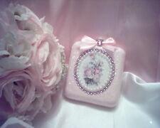 Shabby Victorian~Cottage~Square GLASS Ornament~PINK~Rose Napkin Design~Glitter