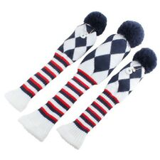 3pcs Knit Pom Pom Sock Headcover 1-3-5  for Driver and Woods Blue White Red