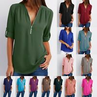 Women's T-Shirt Spring Top Summer V Neck Zip Long Sleeve Loose Chiffon Shirt 2XL