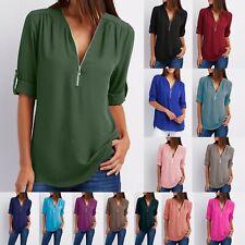 Women's T-Shirt Spring Top Summer V Neck Zip Long Sleeve Loose Chiffon Shirt 2XL