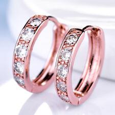 Ring Huggie 18K Silver / Rose / Gold Filled Crystal Gemstone Women Hoop Earrings