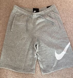 Mens Nike Fleece Shorts Size M (32-35) Pale Grey Bold Graphic Big Swoosh