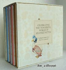 2016 Cinquanta Pence 50p Beatrix Potter Peter Rabbit Set Completo 5 MEDAGLIA Box Set