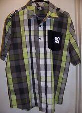 ENYOCE  Men's Casual SS Shirt   Lime,Black,Gray,White Checked Pattern   SIZE L